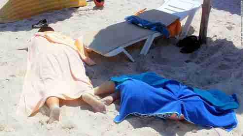 Dead bodies on the beach after terrorist attack in Tunisia (CNN)