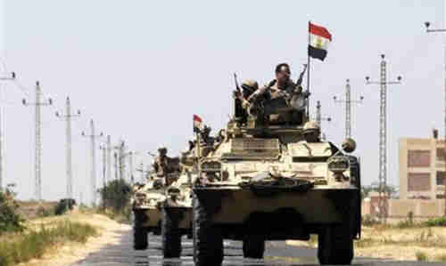 Egyptian army near Al-Arish in the Sinai peninsula on Wednesday (Reuters)