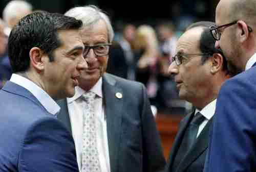 (L-R) Greece's PM Alexis Tsipras, European Commission president Jean-Claude Jüncker, France's president François Hollande, Belgium's PM Charles Michel, at Eurogroup in Brussels on Sunday (Reuters)