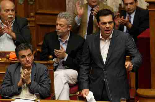 Alexis Tsipras addressing parliament on Wednesday