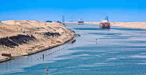 Convoy of ships passing through Suez Canal