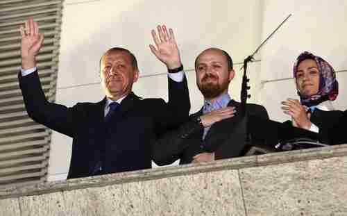 Erdogan with his son Bilal and daughter Sümeyye (Reuters file)