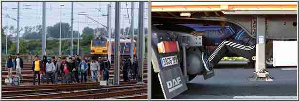 Left: Migrants in Calais walk to Eurotunnel over tracks (AP); Right: Migrant hides under truck to Britain (Reuters)