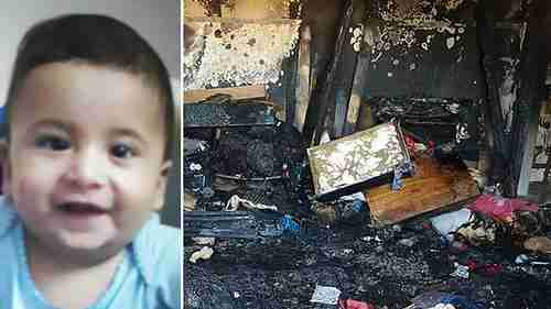 Ali Dawabsheh, the baby killed in the fire, and the damaged home (Ynet)