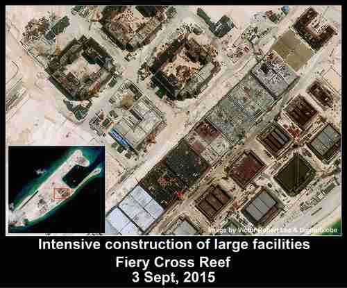 Construction of large facilities on China's artificial island in the South China Sea