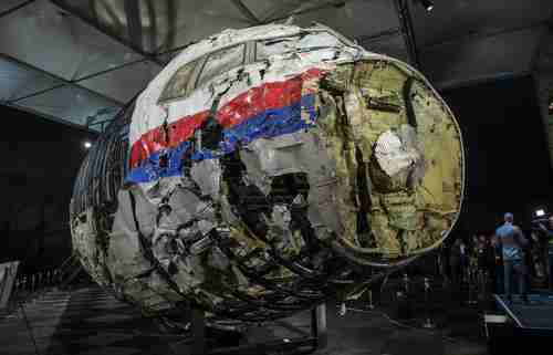 Reconstructed wreckage of the MH17 airplane from the report by the Dutch Safety Board (Reuters)