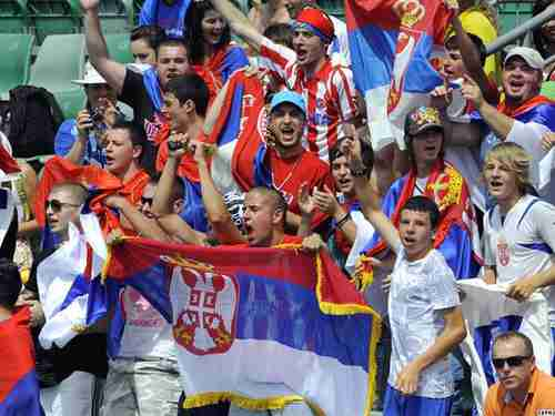 Serb football (soccer) fans. For reasons of security, Serb fans were banned from Croatia home games versus Serbia in the World Cup qualifying competitions in 2013. (Croatia Week)