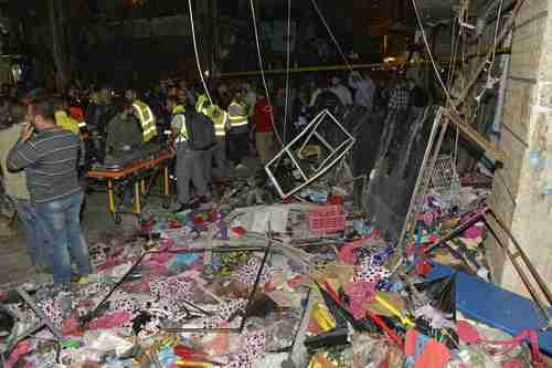 Site of the twin suicide attack on a suburb of Beirut on Thursday (European Press)