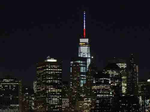 New York's World Trade Center displaying France's colors - blue, white and red