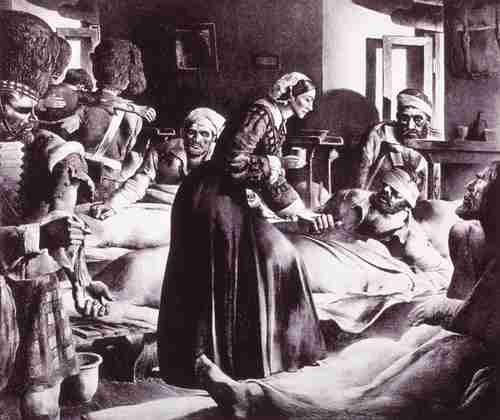 Florence Nightingale, the world's first nurse, tending to wounded soldiers during the Crimean War in 1854