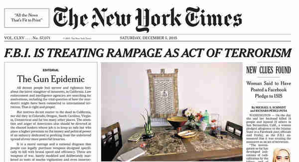 NY Times front page, 4-Dec-2015