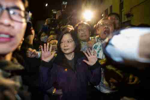 Tsai Ing-wen, Taiwan's likely next president, at a protest against a controversial Taiwan-China trade agreement last march (Getty)