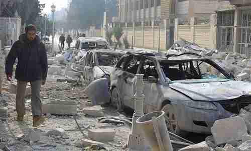 Idlib devastation, after Russian warplane bombing on Sunday (Reuters)