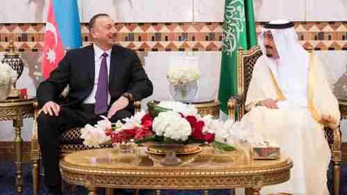 Azerbaijan's President Ilham Aliyev and Saudi King Salman Bin Abdulaziz Al Saud