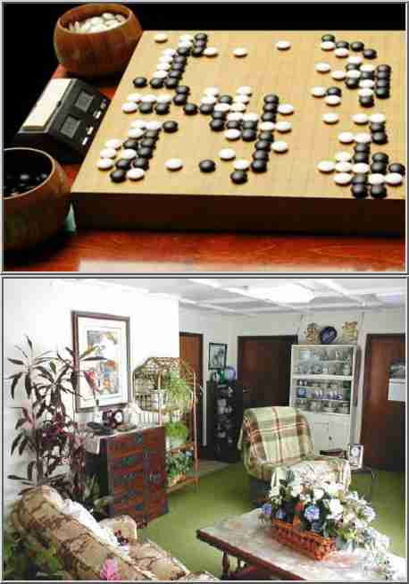 Two pattern recognition problems. Top: Find the best move in a Go position. Bottom: Find the clock in the room.