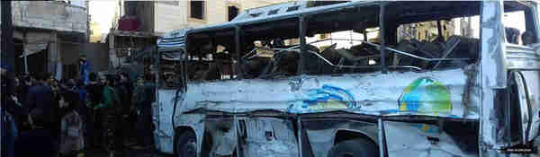 Aftermath of triple suicide bombing in Damascus on Sunday (SANA)