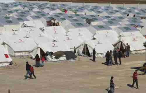 Refugee camp in northern Syria on border with Turkey on Monday (AP)