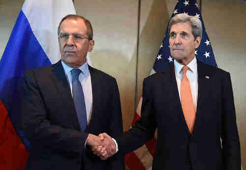 Russia's Sergei Lavrov and America's John Kerry in Munich on Thursday (AFP)