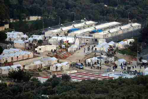 Moria refugee camp on Greek island of Lesbos (AFP)