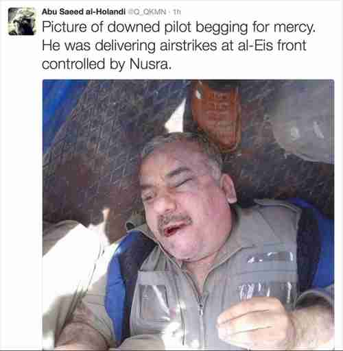 Ahrar al Sham (al-Nusra) tweet posted after the Syrian warplane was shot down, with a picture of the captured Syrian pilot (Long War Journal)
