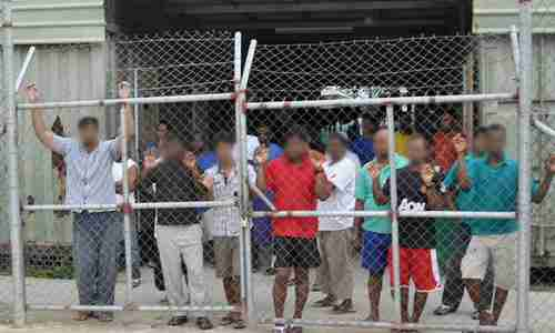 Asylum seekers on Manus island detention center (AAP)