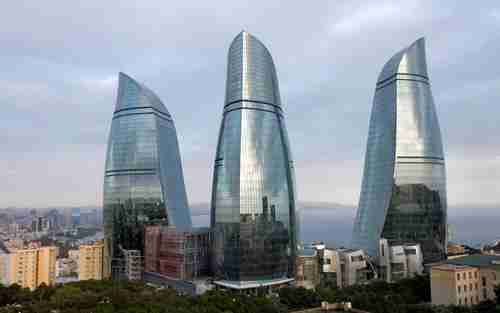 Flame Towers -- skyscrapers in Baku, Azerbaijan