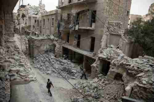 A neighborhood of Aleppo Syria, after being targeted by Syrian regime airstrikes (AFP)