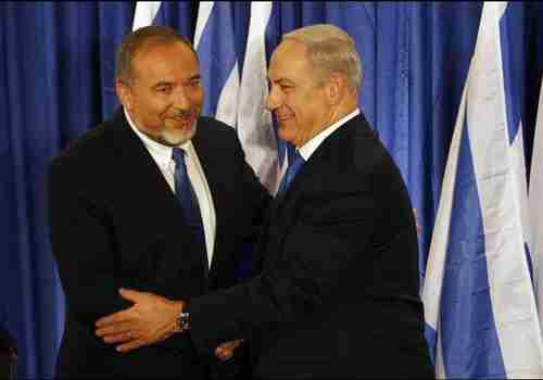 Avigdor Lieberman (L) and Benjamin Netanyanu (Reuters)