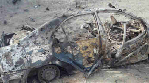 Wreckage of vehicle in which Mansour was traveling when hit by US drone strike (Anadolu)