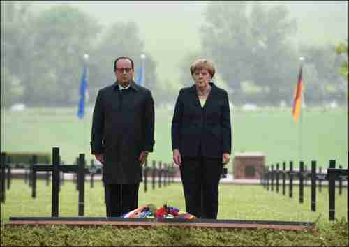 Angela Merkel and François Hollande commemorate the Battle of Verdun on Sunday (AFP)