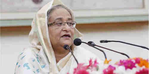 Bangladesh Prime Minister Sheikh Hasina addresses a press conference on Tuesday