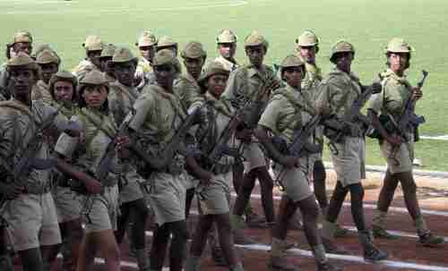 Eritrean soldiers march during the country's Independence Day (Reuters)
