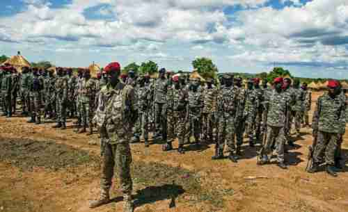 South Sudan army forces stand at attention, April 14, 2016 (AFP)