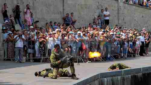 Russian marines performing during the Navy Day celebrations in Sevastopol, Crimea, on July 31 (Reuters)