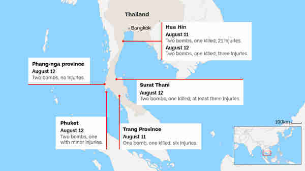 Map of southern Thailand showing sites of the bombings (CNN)