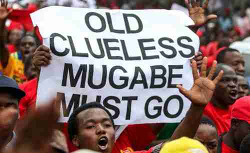 Protestor holds up a sign saying 'Old clueless Mugabe must go' (The Herald)