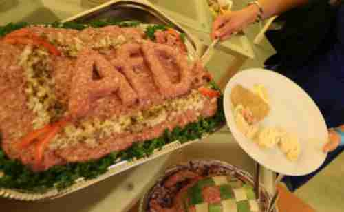 Food at the AfD election party in Berlin (DPA)