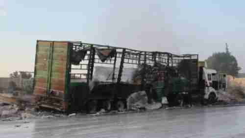 Humanitarian aid truck struck by Bashar al-Assad regime's warplanes on Monday (CNN)