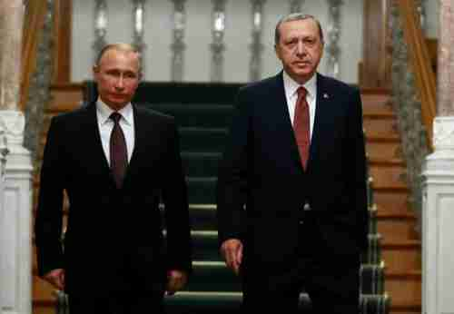 Vladimir Putin and Recep Tayyip Erdogan on Monday in Istanbul (Reuters)