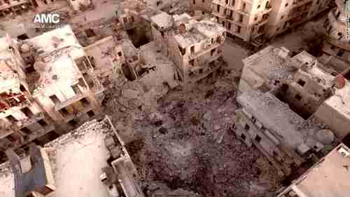 Ghostly image of bombed out Aleppo (CNN)