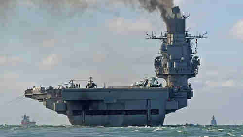 Russian aircraft carrier Admiral Kuznetsov in the English Channel on Oct 21 (EPA)