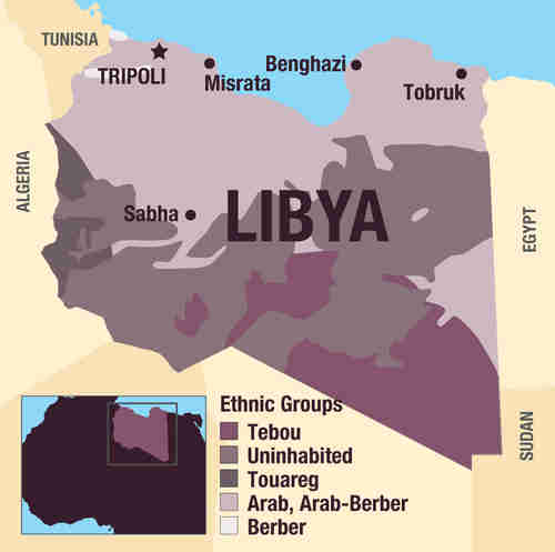 Map of Libya, showing regions occupied by different ethnic groups (Al-Araby)