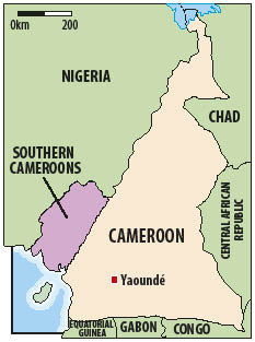 Cameroon, highlighting the English-speaking Southern Cameroons (Nebafuh)