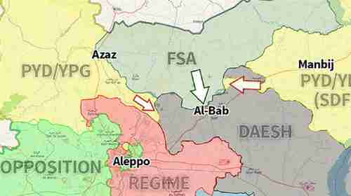 Map showing forces converging on al-Bab in Syria (Yeni Safak)