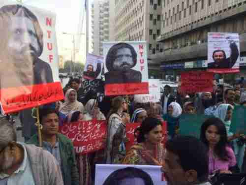 Demonstrators in Pakistan rally to protest the abduction of Salam Haider and others