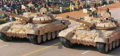 Indian Army T-90S tanks on parade