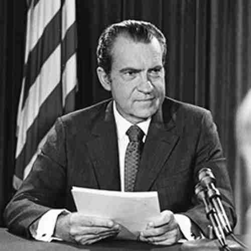 President Richard Nixon announces wage-price controls on August 15, 1971