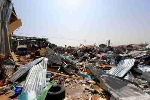 Aftermath of car bomb attack on market in Mogadishu Somalia on Sunday (Reuters)