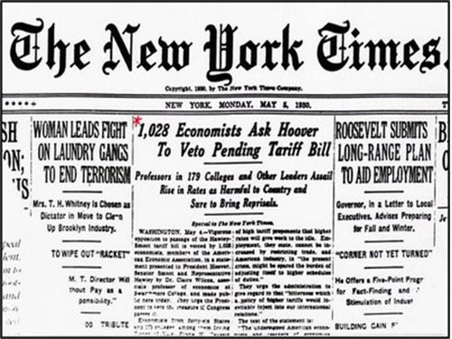 NY Times, May 5, 1930 - over a thousand economists opposed the Smoot-Hawley Tariff Bill (History Hub)