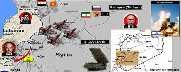 Map of region.  Israeli warplanes struck Lebanon-bound convoy near the T-4 airbase near Palmyra.  Syrian Russian-made S-200 ground to air missiles targeted the Israeli planes without success.  One was intercepted by Israel's Arrow missile system.  This map also depicts (red arrow) a claim by Debka that Hezbollah may be planning an attack on Israeli-held Mount Hermon.  (Debka)